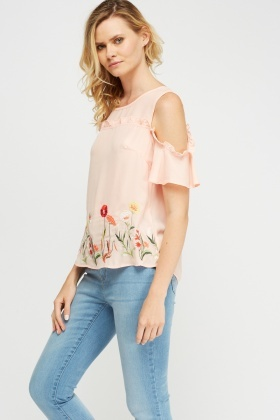 Embroidered Frilled Cold Shoulder Top