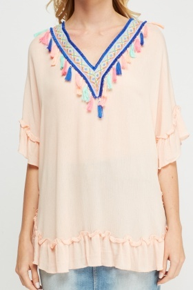 Embroidered Tassel Cover Up Top