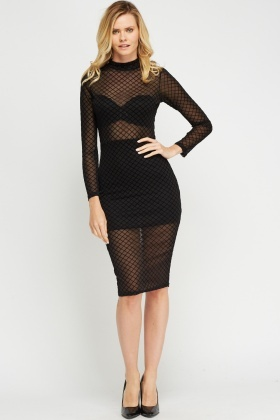 High Neck Mesh Overlay Bodycon Dress