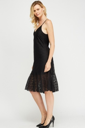 Mesh Overlay Flare Hem Dress