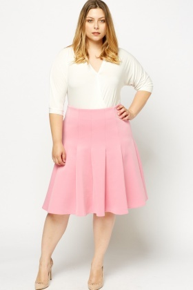 Pleated Scuba Midi Skirt