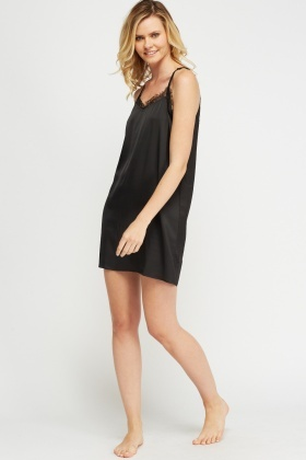 Silky Lace Insert Night Dress