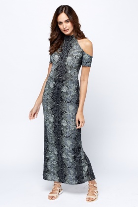 Black Printed High Neck Maxi Dress