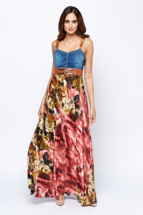 Denim Bodice Printed Maxi Dress