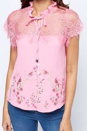 High Neck Lace Insert Embroidered Top