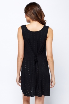 Laser Cut Button Up Black Dress