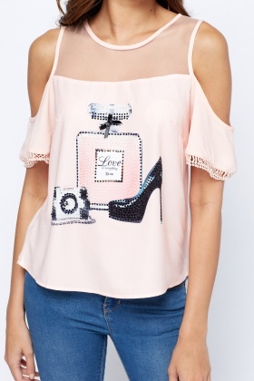 Mesh Insert Embellished Top