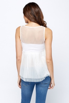 Mesh Pleated Top