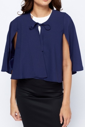 Navy Tie Up Cropped Cape