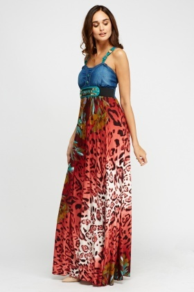 Printed Contrast Maxi Dress