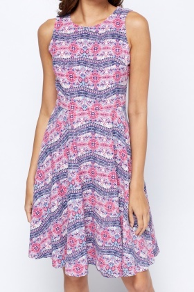 Printed Sleeveless Skated Dress