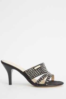 Encrusted Open Toe Sandal Heels
