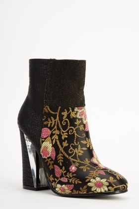 Sergio Todzi Floral Contrast Heeled Boots