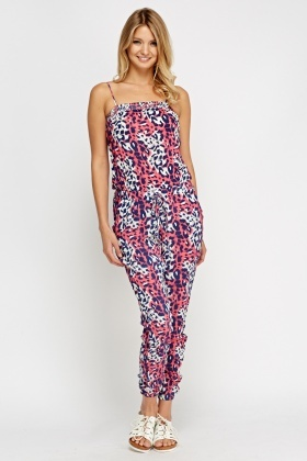 Animal Print Pink Jumpsuit