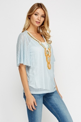 Beaded Embellished Mesh Top