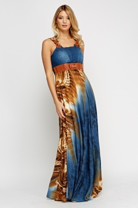 Denim Bodice Maxi Dress