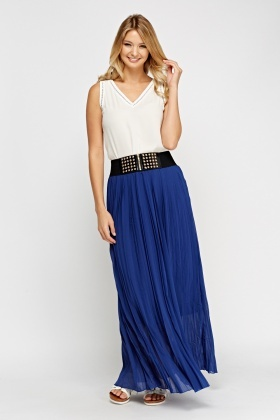 Detailed Waist Pleated Maxi Skirt