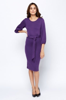 Elasticated Batwing Sleeve Midi Dress