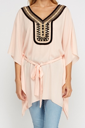 Embroidered Asymmetric Cover Up Top