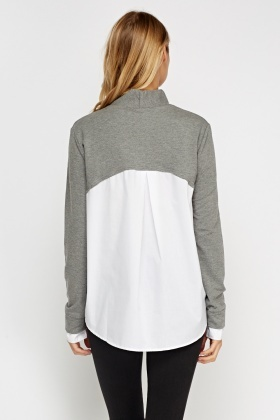 High Neck Grey Shirt Insert Top