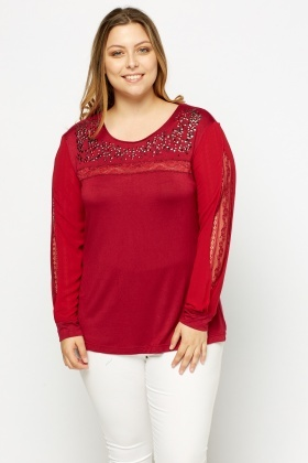 Lace Insert Embellished Top