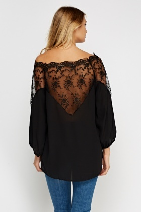 Lace Insert Off Shoulder Top
