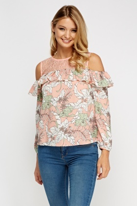 Mesh Insert Cold Shoulder Printed Top