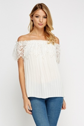 Mesh Insert Off Shoulder Top