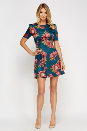 Silky Floral Swing Dress