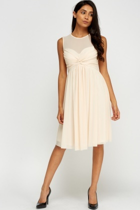 Twist Front Mesh Overlay Dress