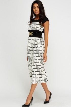 Belted Printed Dress