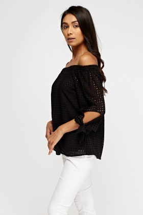 Laser Cut Off Shoulder Top