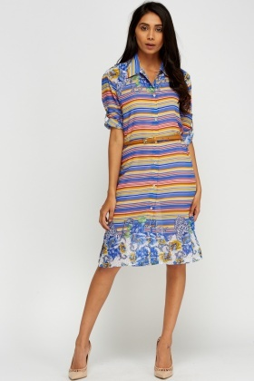 Mixed Print Shirt Dress