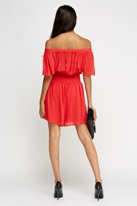 Off The Shoulder Tie Up Waist Dress