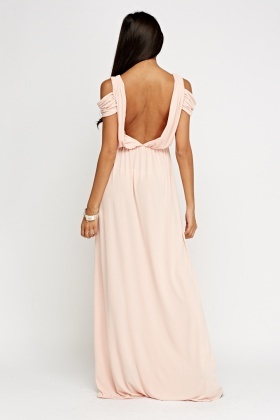 Ruched Cold Shoulder Maxi Dress