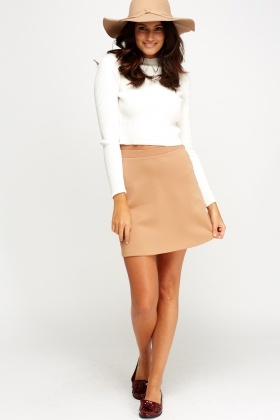 Camel Basic Mini Skirt