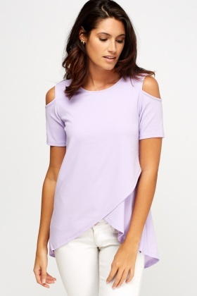 Cold Shoulder Wrap Hem Top