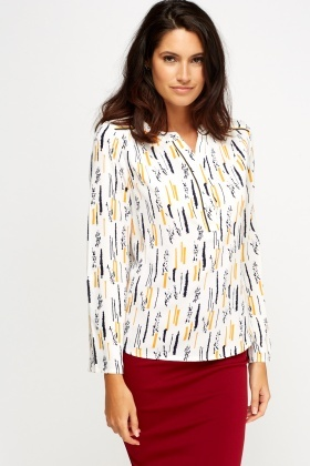 Collarless Printed Blouse