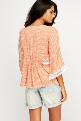 Crochet Insert Printed Top