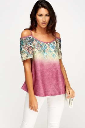 Cut Out Shoulder Printed Top