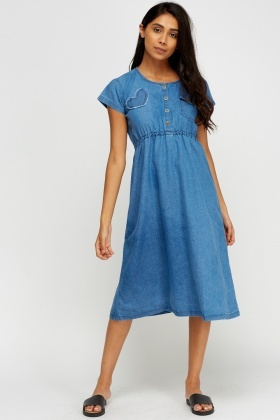 Denim Button Up Midi Dress
