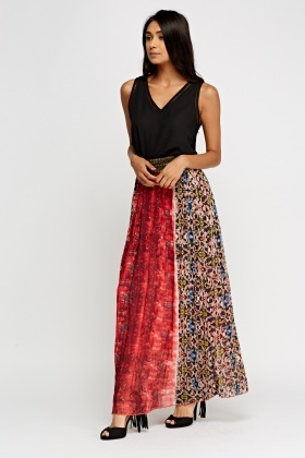 Detailed Mixed Print Maxi Skirt
