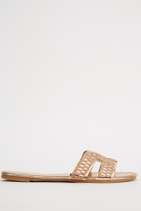 Encrusted Gold Band Sandals