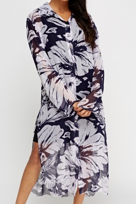 Flower Printed Sheer Shirt Dress