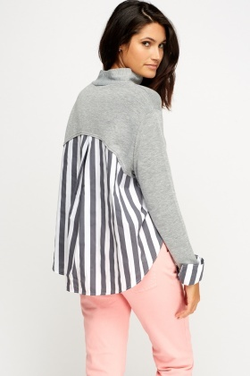 High Neck Striped Insert Top