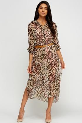 Leopard Print Sheer Shirt Dress - Just £5 742dda5ed