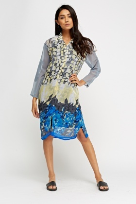 Mixed Print Sheer Shirt Dress