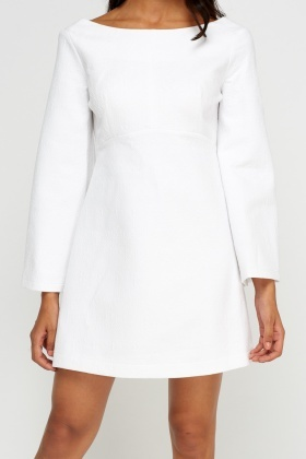Textured Off White Dress