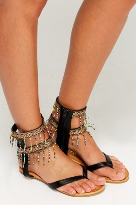 Embroidered Zip Up Sandals