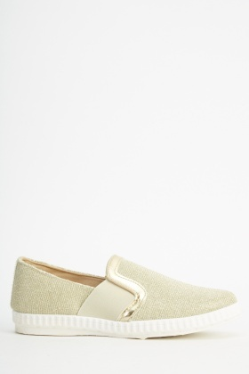 Metallic Gold Slip On Shoes